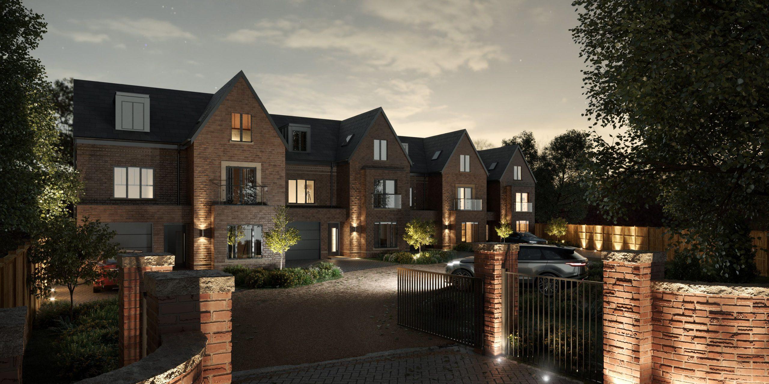 Mulberry Park - private luxury home development - bramhall, cheshire - architectural visualsiation night scene