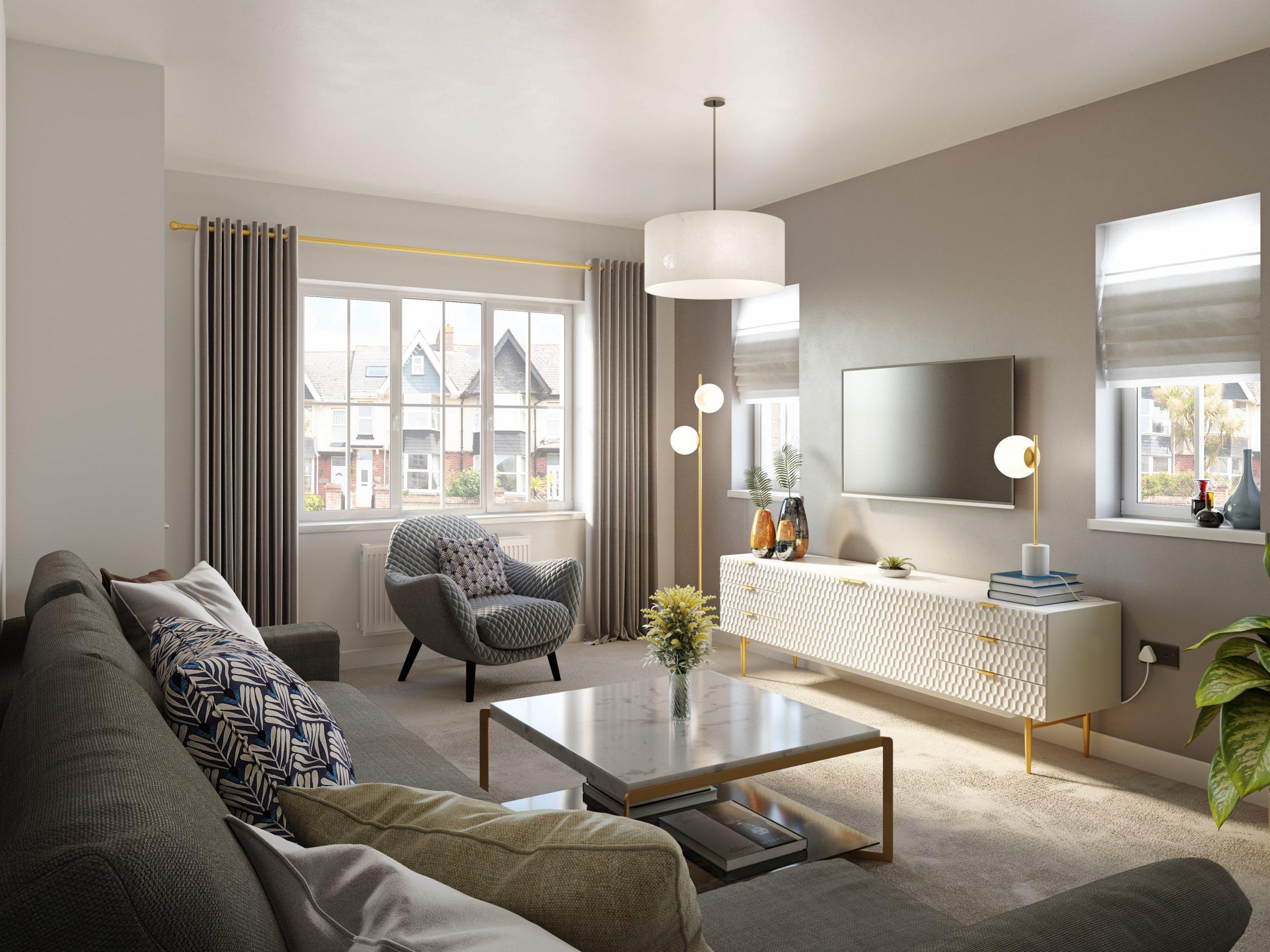 living room visualisation - housing development